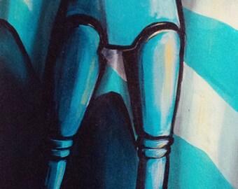 """Robot Painting MODERN ART original 16 x 40"""""""