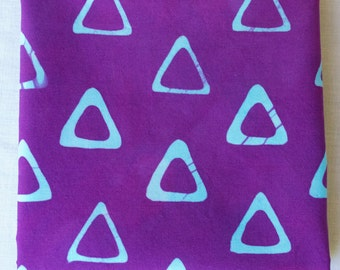 Triangle Tribe Hand Dyed and Patterned Fabric in Turquoise and Purple