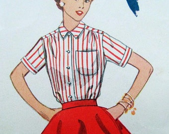 SaLe Red Blouse Vintage Pattern 1950s Blouse Valentines Candy Stripes Mad Men 1953 Simplicity 4256 Puff SS LS 13 Bust 31 Waist 25 26 Hip 34