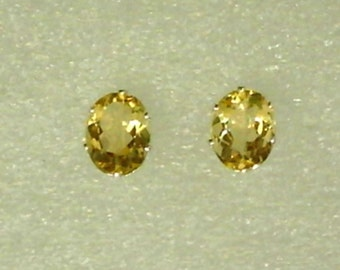8x6mm Yellow Citrine Gemstones in 925 Sterling Silver Stud Earrings  SnapsByAnthony October Birthstone