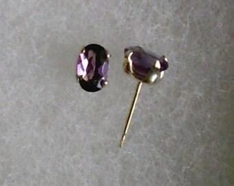 6x4mm Purple Amethyst Gemstones in 925 Sterling Silver Stud Earrings SnapsByAnthony February Birthstone