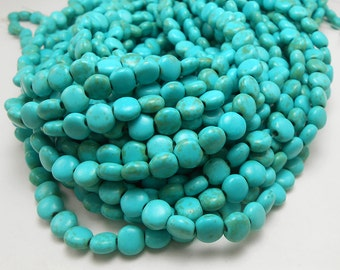 54 Turquoise Howlite Pebble Beads 8MM (H1966)