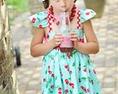Girls Cherry Dress- Girls Red Cherry Dress- Girls Aqua Cherry Dress