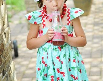 Girls Cherry Dress- Cherries Dress- Red Cherry Dress- Party Dress- Birthday Dress- Baby Girl Dress- Girls Red Dress- Girls Flower Dress-