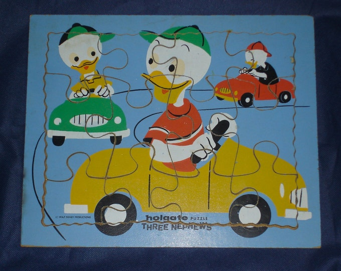 Vintage 1960s Huey Louie Duey Three Nephews Wood Frame Tray Puzzle
