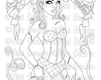 Digital Stamp - Printable Coloring Page - Fantasy Art - Zombie Stamp - Adult Coloring Page - Beatrix - by Nikki Burnette - PERSONAL USE