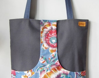 ON SALE Down The Road Gray, Antique Blue and Colorful Floral Kangaroo Pocket Tote Bag