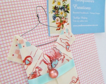 Hanky Dress - Origami Style Handkerchief Dress - Pink & Blue - Ready to Ship
