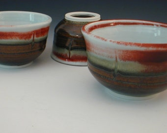 Handmade Pottery Nesting Bowls - Set Of 3 Serving Bowls Wheel Thrown Porcelain