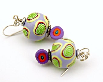 Artisan Polymer Clay Bead Earrings with Sterling Silver