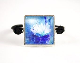 Blue Water Lily Bracelet, Wearable Art, Abstract Painting Bracelet, Blue Jewelry, Black Faux Suede Bracelet, Birthday Gift, Daughter Present