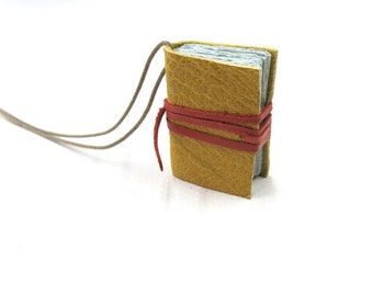 Mini Leather Journal Book necklace, Diary, notebook, yellow leather, blank book