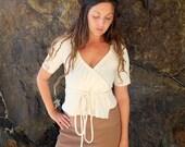 ORGANIC Drawstring Wrap Cropped Shirt ( locally milled organic cotton knit ) - organic shirt