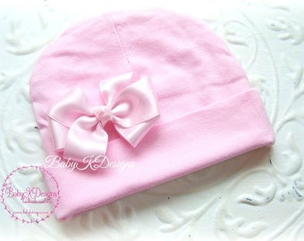 Pink Newborn Baby Beanie / Cotton Hospital Hat Beenie / Girls Knit Hat / Pink Cotton Knit Beanie Small Satin Bow More Colors TWO SIZES