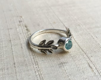 SALE Treated Blue Opal and Sterling Silver- The Fire Leaf Ring