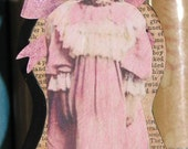 Primitive Style Wood Doll Civil War Era Little Girl In Pink Daisy