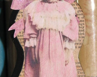 Primitive Style Wood Doll Civil War Era Little Girl In Pink Daisy