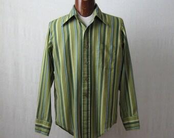 Striped Shirt Mens Button Down Long Sleeve Shirt 60s 70s Size M