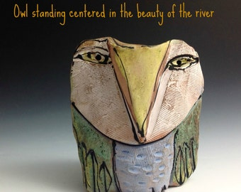 "Owl clay sculpture, ""Owl Person Standing Centered in the Beauty of River"", 4"" tall"