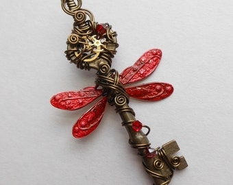 Red Dragonfly Winged Key Pendant -- Steampunk Winged Clockwork Key Wire Wrapped with Gears, Brass Wire, Crystals (A Key to Time)