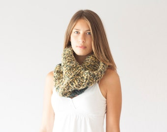 Knit slouchy cowl chunky collar neck warmer knit shoulder warmer knit collar neckwarmer in yellow and grey