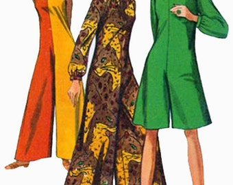 Vintage 60s Simplicity 7359 MOD Sleeveless Pantdress in Two Lengths Sewing Pattern Size 14 Bust 34 UNCUT