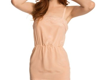 Sample sale size SMALL - pink or ivory Louisa silk and lace slip - silk chemise with vintage lace trim - crepe de chine, pink peach