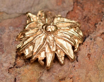 Gold Bronze Flower Button, Artisan Chrysanthemum Button