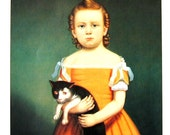Fine Art Print - Girl and Cat by William Thompson Bartoli, American Painter - 1992 Vintage Book Page - Reproduction Print - 8.5 x 11