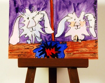 """ON SALE ACEO """" Dust Bunnies In The Mop Closet! """" Original on Heavy Art Paper"""
