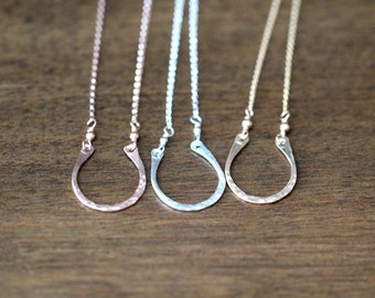 Horseshoe Necklace In Gold, Rose Gold Or Sterling Silver, Delicate Hammered Minimalist Pendant - Lucky You