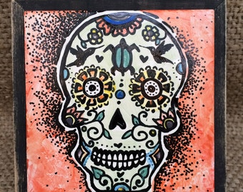 Hand Painted Sugar Skull Porcelain tile in wooden frame
