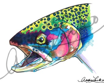 "Marker Rainbow Trout Fish Art Print 8.5""x11"""