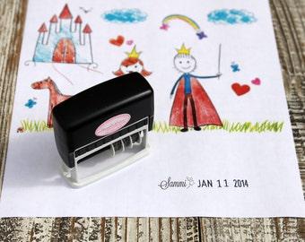 Kid Artwork Date Stamp, Wand Dater stamp for kids, Custom Self inking stamp, Dater stamp, Handmade date stamp --5073