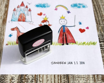 Kid Artwork Date Stamp, Baseball Dater stamp for kids, Custom Self inking stamp, Dater stamp, Handmade date stamp --5074