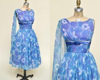 Vintage Party Dress --- 1960s Floral Dress
