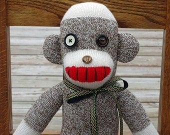 Sock Monkey Doll One of a Kind made with Rockford Red Heel Socks - Sock Monster