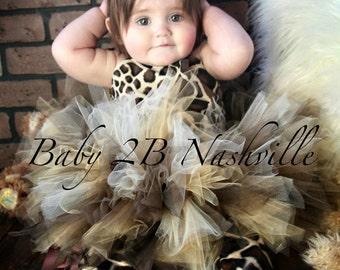 Brown Safari GiraffeTutu Costume Baby Giraffe Costume up to 24M