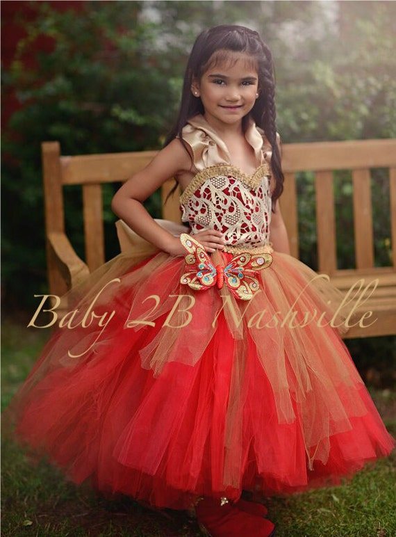 Christmas Flower Girl Dress in Red and Gold, Wedding Flower Girl  Dress, Princess Dress,Wedding Flower Girl Tutu Dress All Sizes Girls
