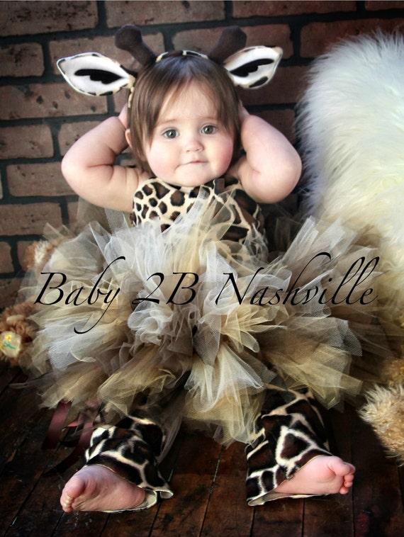 Brown Safari Giraffe Tutu Costume Baby Giraffe Costume up to 24M Top and Tutu ONLY