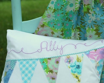Custom Name Pillow Nuersry - 12x16 - Vintage Sheet - Pastel Lavender Blue - Embroidery