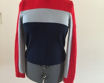 Striped Wool Sweater Red Blue Gray Ski Sweater Vintage 1970s