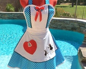 Alice in Wonderland Inspired Sassy Apron, Womens Misses and Plus Sizes, Girls Aprons, Lolita Sweetheart Apron, Kitchen Diva, Cosplay,Costume