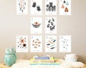 Woodland Counting Cards Set of 10 5x7 Number Wall Cards, Kid's Room, Children's Wall Art, Gender Neutral Nursery