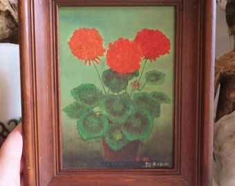 Vintage Mid Century Painting of Red Geraniums Little Vintage Painting Naive Still Life Painting Red Accent Red Flower Vintage Eclectic Art
