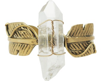 Bohemian glamour antique brass feather and quartz stone point cuff bracelet