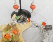 "Watching My ""First Pet"" Handcrafted Lampwork Beaded Fishbowl and Gold Fish Earrings and Bracelet Set"