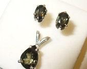 Natural Kornerupine Gemstone Pendant & Earrings in Sterling