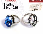 Clearance!  Quality Cast 18x13mm Antique Sterling Silver 925 Adjustable Oval Ring Bezel Settings, fit Swarovski 4120 crystals DIY (N12AN)