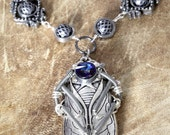 Steampunk Jewelry -  Retro futuristic Necklace - Cicada with Bermuda Blue crystal - One of a kind steampunk jewellery by Catherinette Rings